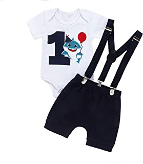 Kionio Baby Boy First Birthday Clothes Long Sleeve Romper Black Pants Suspenders Strap Cake Smash Outfit Boy Girl 1st Sets…