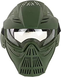 YASHALY Airsoft Mask Adjustable Full Face Army Military Tactical Gear with Goggle Eye Protection for Paintball CS Game BB Gun and Party