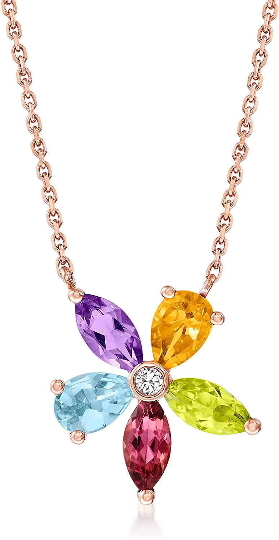 Ross-Simons 1.90 ct. Bargain t.w. Multi-Gemstone 14kt Necklace Flower in Ranking TOP12
