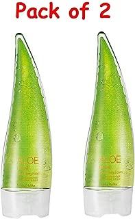 (Pack of 2) Holika Holika Aloe Facial Cleansing Foam, 150ml with KAI Eyebrow Razor
