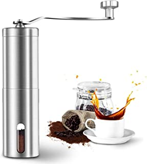 ALLYAOFA Manual Coffee Grinder, Brushed Stainless Steel Coffee Grinder Adjustable Ceramic conical Burr Mill for Espresso, ...