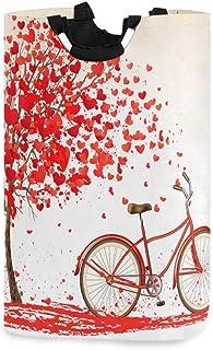 Happy Valentine 's Day Hearts Trees Vélo Porte-panier à linge étanche, Grand panier de sac à linge pliable pour vêtements ...