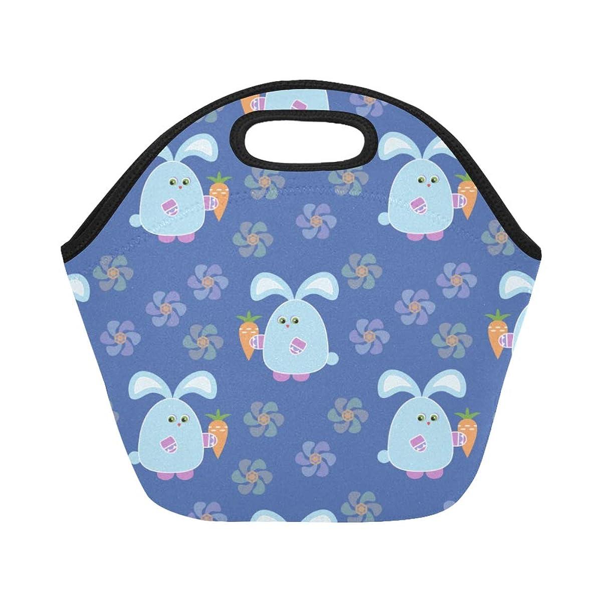 アウター常習的ルビーCWSGH ランチバッグ 青い ブルー すばしこいうさぎや美しい花 弁当袋 お弁当入れ 保温保冷 トート 弁当バッグ 大容量 トートバッグ