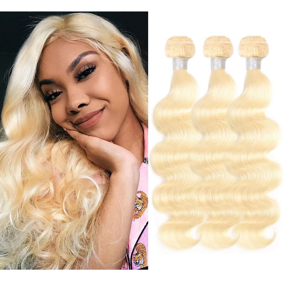 VIOLET Brazilian Virgin Human Hair Weave 613 Blonde Hair 3 Bundl