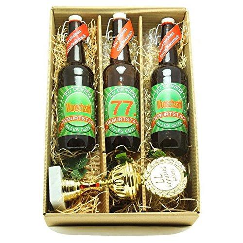 Bier Geschenk zum 77.Geburtstag Geburtstagsgeschenk siebenundsiebzigster Geburtstag Präsentkarton mit Bier und Pokal zum 77. Geburtstag