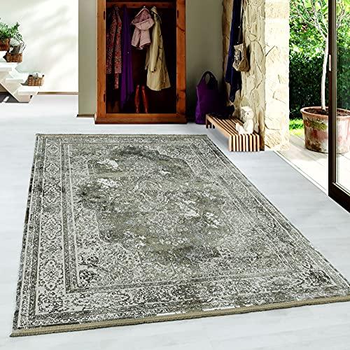 Carpetsale24 Pierre Cardin Alfombra de diseño de Pelo Corto Texturas Finas Diseño de Oriente Verde, Tamaño:120x170 cm