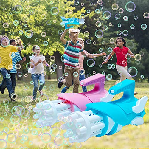 gormyel 2PCS Gatling Bubble Machine 2021 Juguetes Y Regalo Frescos, 2 En 1 Máquina Automática De Burbujas Y Ventilador Pequeño, 8 Orificios Enorme Cantidad Bubble Maker Kids, Gatling Bubble Gun