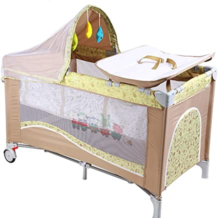 ALBB Portable Baby Travel Cot  Design Bassinet Bed  amp  Activity Play Center  Foldable Frame with Mattress  Storage Pocket  Carry Bag