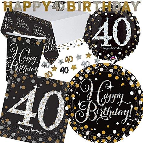 XXL-partyset * SPARKLING CELEBRATION * voor de 40e verjaardag // met borden + beker + servetten + tafelkleed + confetti + banner + folieballon // Set Party Motto Vierkant