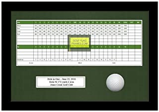 10x15 Black Golf Scorecard Golf Ball Frame, Moulding blk-004 Shadowbox, Green Mat (holds up to 5x12 card; card & ball not incl)