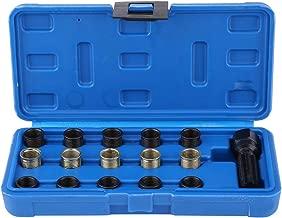 Qiilu Spark Plug Thread Repair Tools, 16Pcs 14mm x 1.25 M16 Tap W/Portable Case
