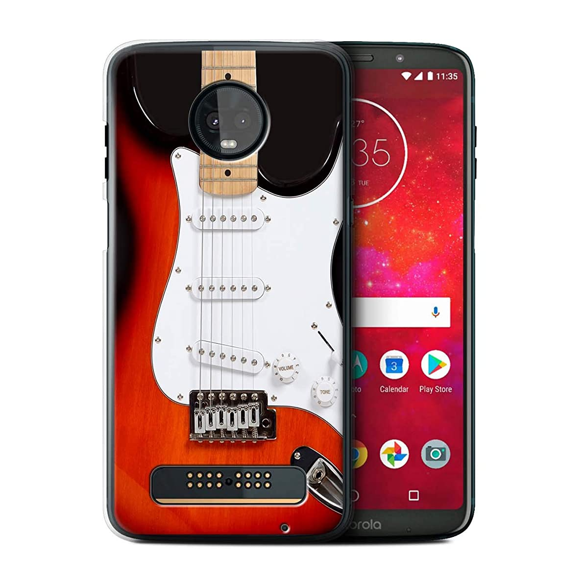 eSwish Phone Case/Cover for Motorola Moto Z3 Play 2018 / Red Electric Design/Guitar Collection kgkqkw7999