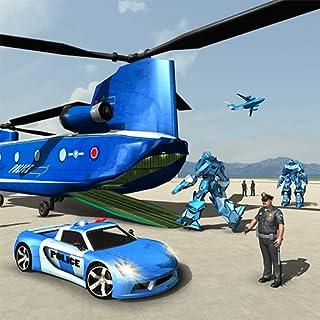 Juego de transporte de coche de robot de policía transformado de US - Helicopter Transporter Simulator 2018
