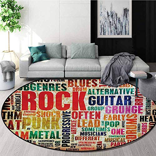 Why Should You Buy RUGSMAT Music Modern Washable Round Bath Mat,Retro Rock and Roll Symbol Lettering...