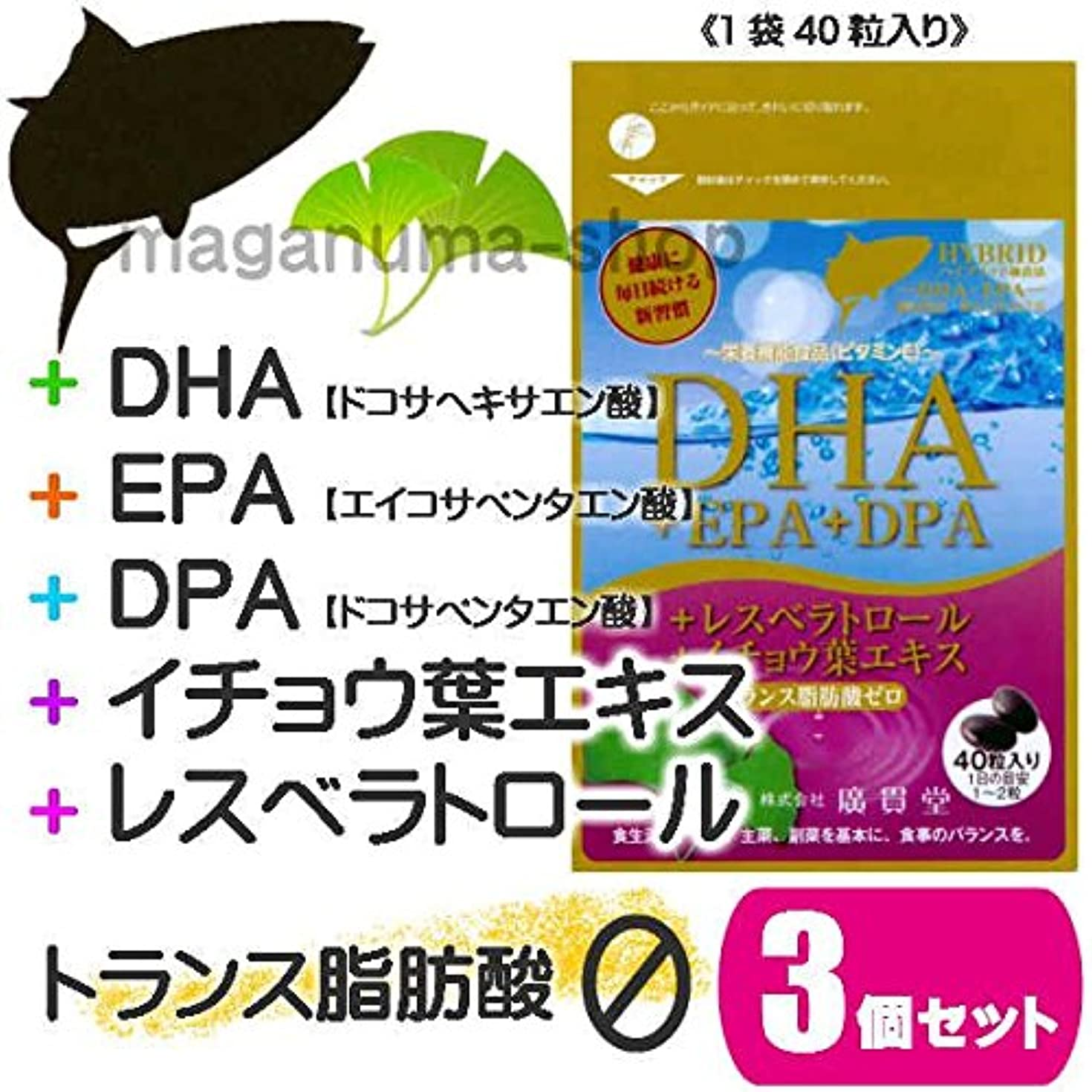レシピ全国酸DHA+EPA+DPA+レスベラトロール+イチョウ葉エキス 3個セット