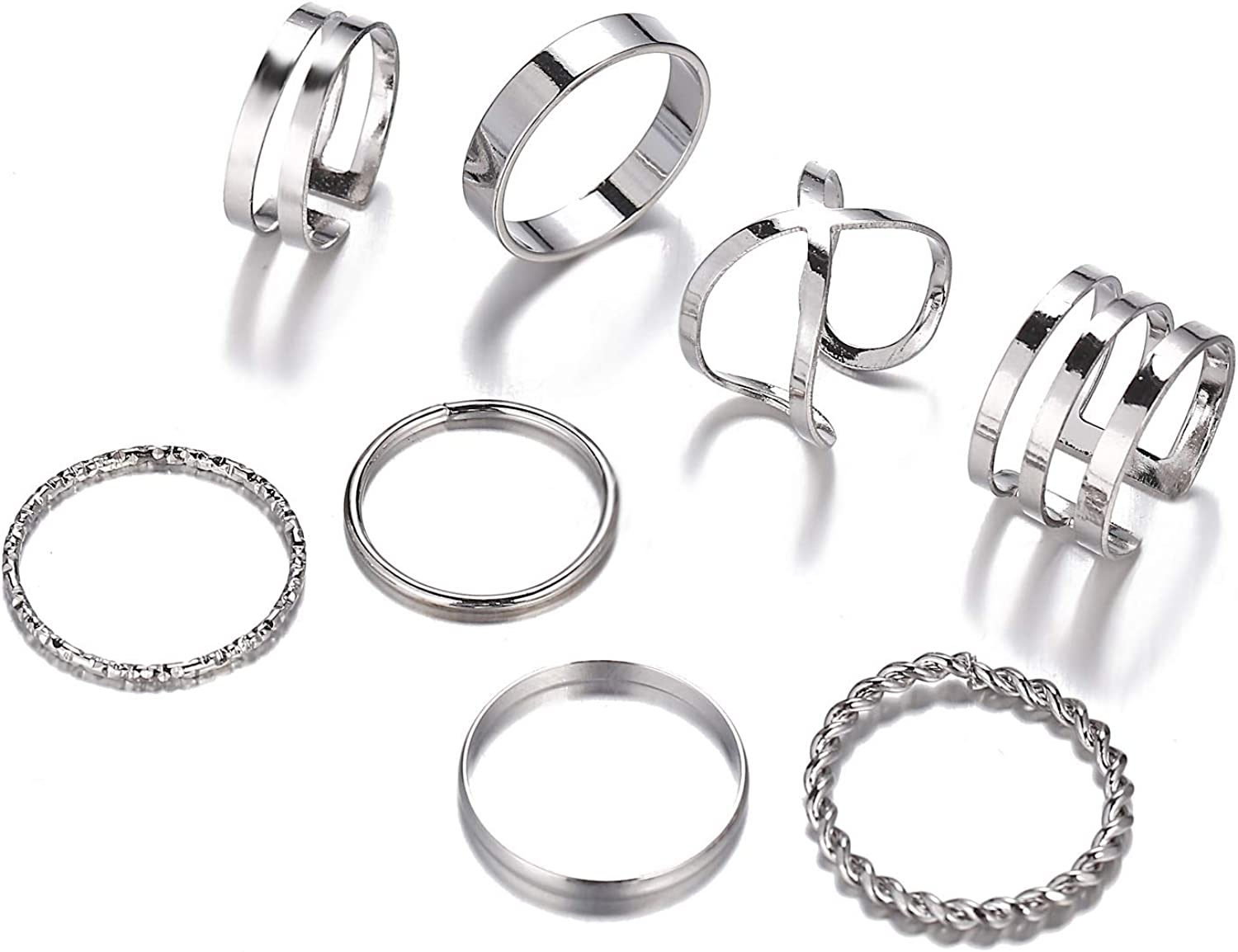 The Woo's Max 57% OFF 8-9 PCS Sales for sale Midi Rings Ring Co Stacking Multi Size Knuckle