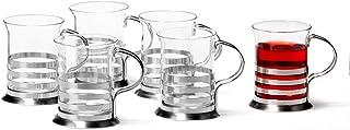 Leonardo Balance Tee-Glas, Tee-Tasse aus Glas inklusive Edelstahl-Halter, handgefertigte Tee-Gläser, 6er Set, 220 ml, 017588