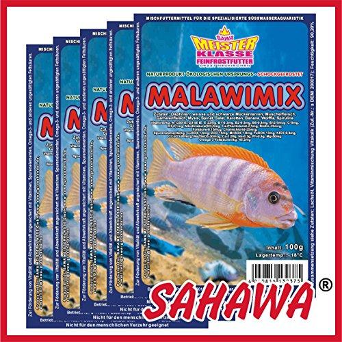 SAHAWA Frostfutter 5 Blister Malawimix + 1 Blister Daphnien gratis, verpackt mit Trockeneis -78°C, Zierfischfutter,