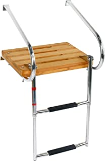 DasMarine Universal Inboard Teak Wooden Swim Platform Under Mount Fold Down 2 Step 316 Stainless Steel Ladder with Two Handrails(Mounting Screws are Included)