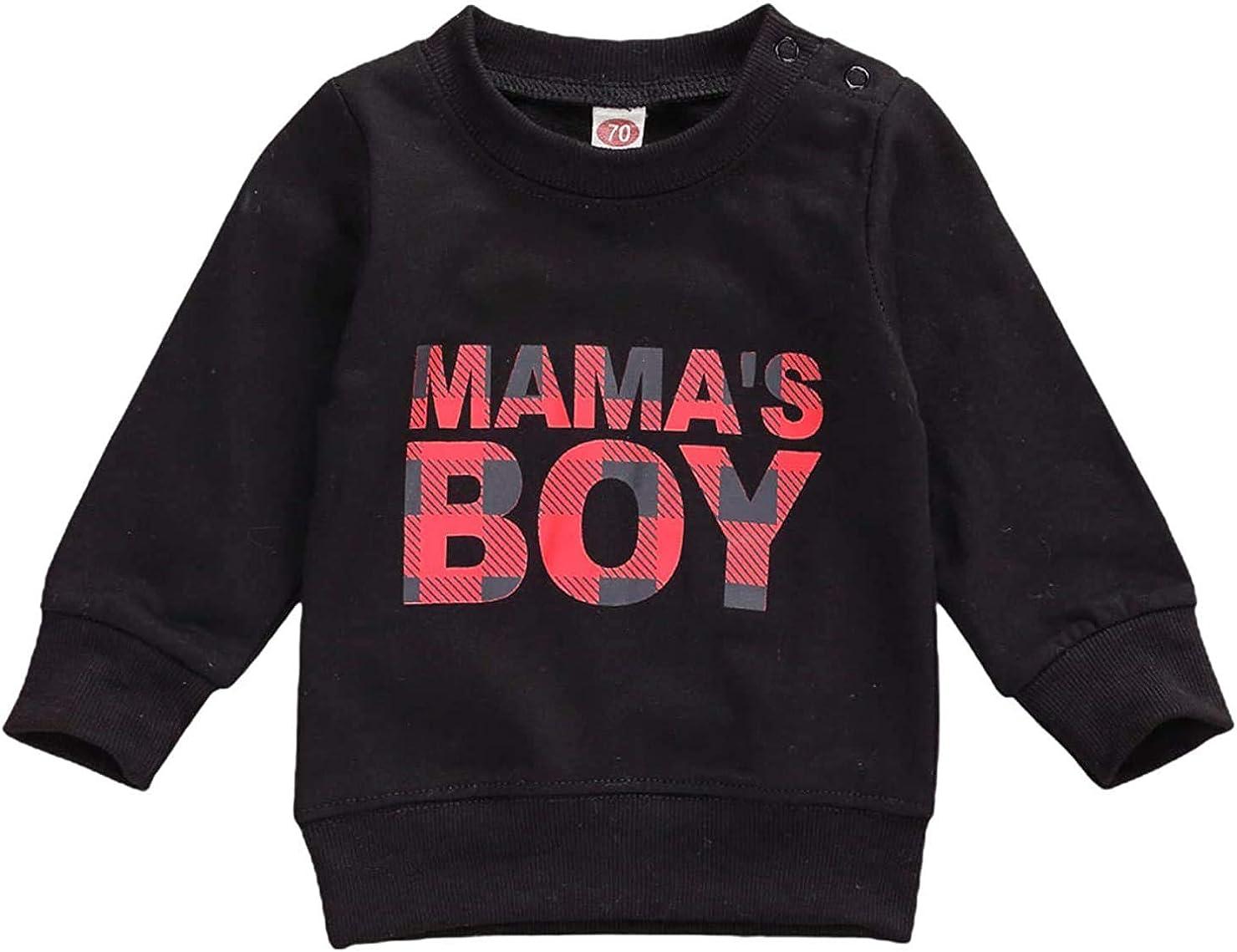 Ayalinggo Infant Toddler Baby Mamas BOY Long Sleeve Shirts Sweatshirts Casual Basic Top Fall Winter Outfit Clothes