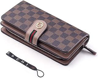 Women Wallet RFID Block Checkered Wristlet Wallet Leather Clutch Cards Holder Organizer