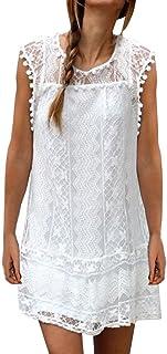 AIYUE Abito Donna Vestiti Estiti Senza Maniche Pizza Bianco Palla Bordado Allentato Vestito Corte Dress Femminile per Festa Ballo Partito