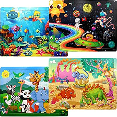 Puzzles for Kids Ages 3-8, 4 Pack Wooden Jigsaw Puzzles 60 Pieces Preschool Educational Learning Toys Set for Boys and Girls