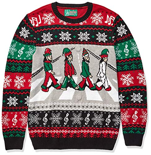 Ugly Christmas Sweater Company Men's Assorted Light-Up Xmas Crew Neck Sweaters with Multi-Colored LED Flashing Lights, Cayenne Abbey Road Elves, Medium