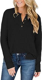 d23c387342b8b Womens Henley Tops Plus Size Short Sleeve Summer Long Sleeve Shirts Fall V  Neck Button Down