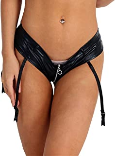 Women's Low Rise Zipper Crotch Shiny Patent Leather Mini Booty Shorts with 4 Garters
