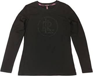 Women's Lauren Pink Long Sleeve Tonal Bling Logo Shirt X-Large Black