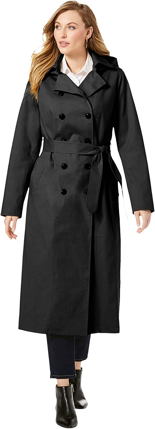 Jessica London Women's Plus Size Double Breasted Long Trench Coat Raincoat