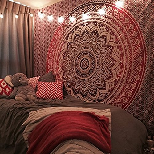 Raajsee Indisch Psychedelic Mandala Wandteppich Rosa Lila Ombre ,Boho Wandtuch Hippie,Indien Wandbehang Tuch,Groß baumwolle Wand tucher 54x82 Inches