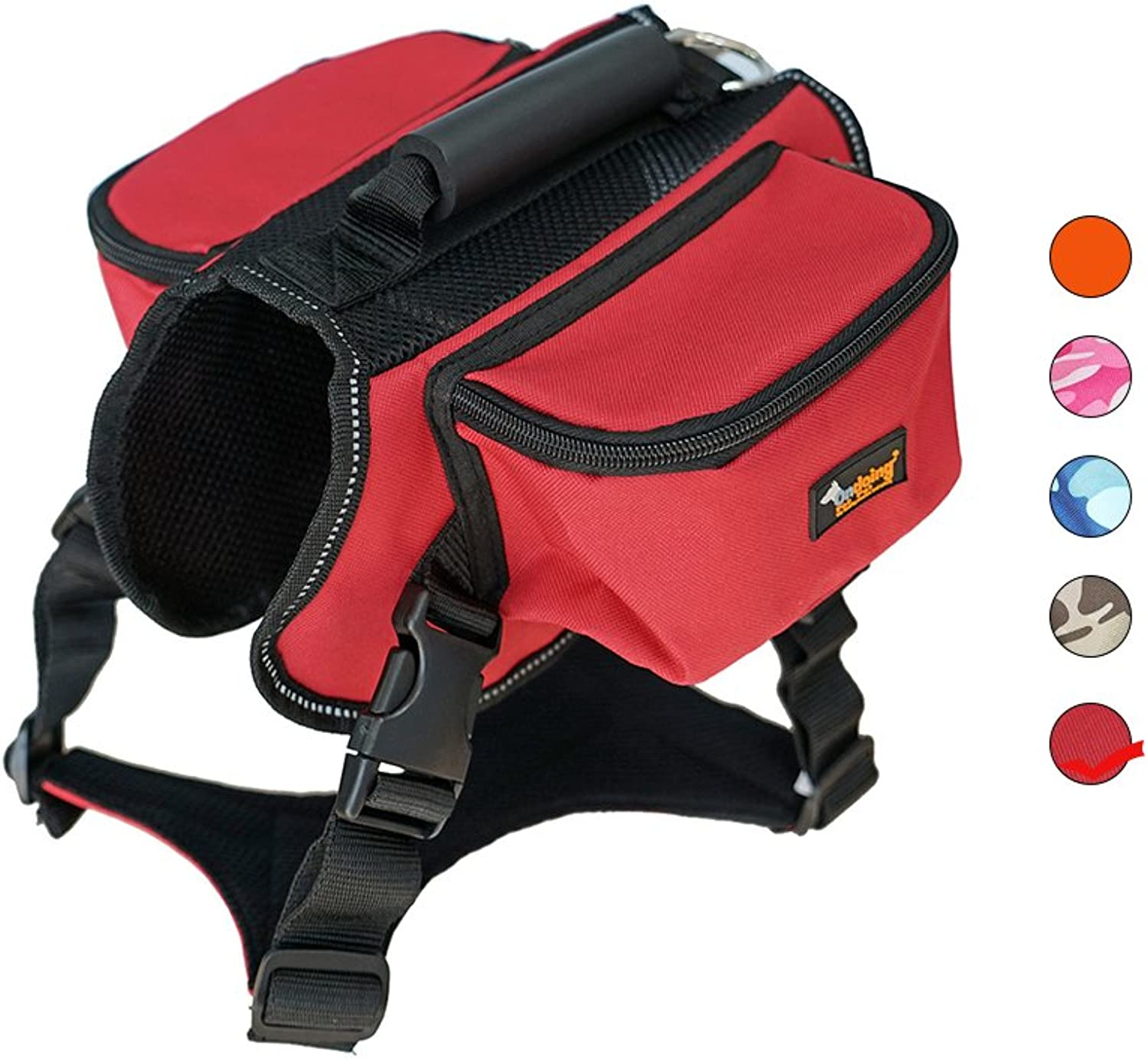 Dog Carried Saddle Backpack Saddle Hiking Travel Camping Outdoor Harness Backpack for Medium Large Dog (L, Red)