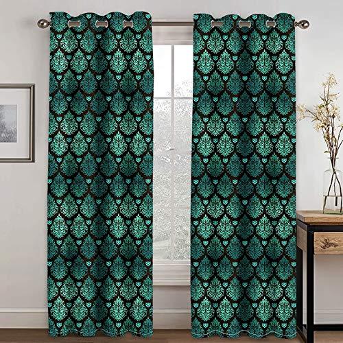 Beydodo Cortina Poliester Exterior Cortina Opaca 2 Piezas Patrón de Vintage Verde Negro Cortinas Habitacion 274x274CM