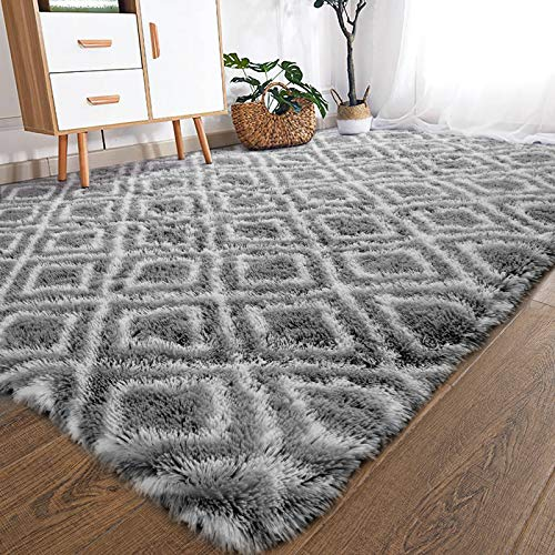 YOH Fuzzy Soft Modern Shaggy Fur Area Rug for Bedroom Living Room Indoor Home Decorative Accent Floor Fluffy Carpet, Non-Slip Comfy Plush Furry Rugs for Dorm Nursery Kids Room, 5