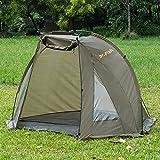 Tente de bivouac pour pêche à la carpe - 1 à 2 personnes - Rapide à monter - Imperméable - Avec tapis de sol et sac de transport