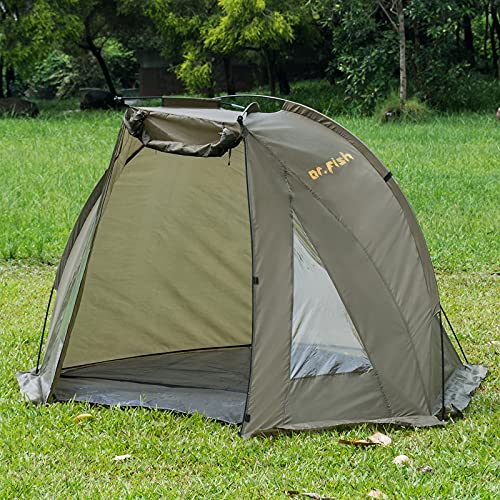Carp Fishing Bivvy Tent Shelter 1-2 Man Quick Erect Lightweight Waterproof Day Shelter With Groundsheet Carry Bag