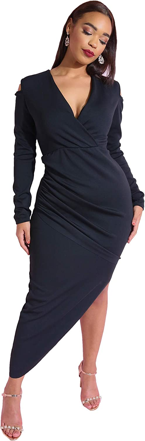 Rebdolls Cold Shoulder Asymmetrical Dress  Long Sleeve  Ruched Skirt  Body Conscious