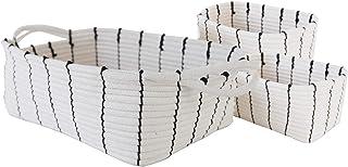 Cotton Rope Storage Basket Woven Storage Bins with Handles Decorative Organizer Basket for Nursey Toys Books Home Set of 3 Beige