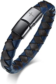 Men's Personalized Stainless Steel Genuine Braided Leather Bracelet with Magnetic Clasp Brown & Blue