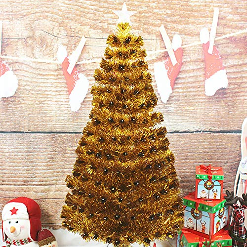 DULPLAY Pre-lit Pop- Highland Christmas Tree, Warm White LED Green Decorated Trees Solid Metal Legs Unlit for Holiday Indoor-a 6.8Ft(210cm)
