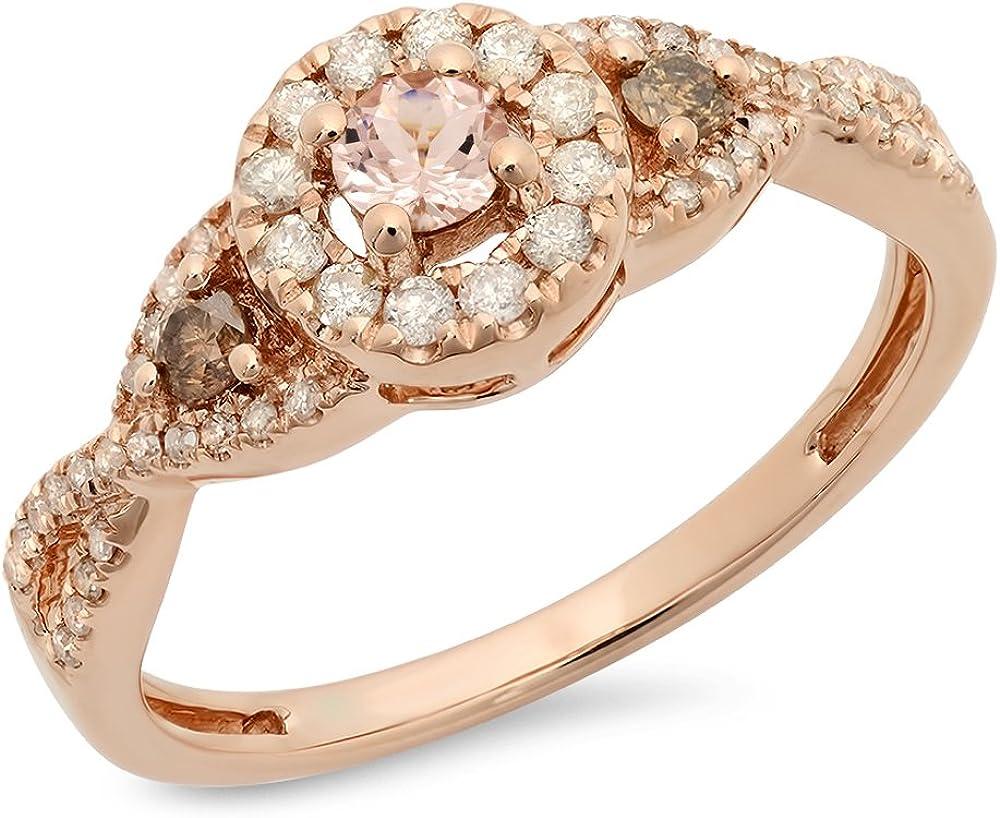 Dazzlingrock Collection 10K Round Morganite,Champagne & White Diamond Ladies 3 Stone Swirl Halo Bridal Engagement Ring, Rose Gold
