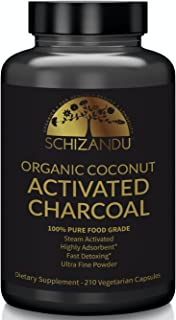 Organic Activated Charcoal Capsules, 210 Pills, Food Grade Detox, Non GMO Veggie Tablets, Active Coconut Charcoal, for Teeth Whitening, Bloating, Digestive System,to Prevent Hangover,Vegan, eBook