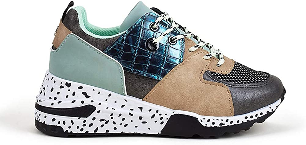 LUCKY STEP 別倉庫からの配送 Women's Leopard Colorblock Cosy up Sneakers lace Chun 秀逸
