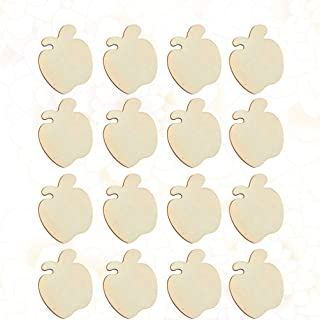 Amosfun 40pcs Unfinished Wood Cutouts Wood Shapes Pieces Wood Discs Slices for Christmas DIY Craft Gift Tags