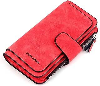 Belsmi RFID Blocking Women Long Leather Wallet Clutch Zipper Card Holder Organizer Bifold Wallets