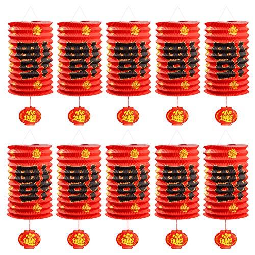 Rorchio 10 Stück rote Papierlaternen Chinesisches Neujahrs-Laterne Festival Dekoration für Chinesisches Neujahr,...