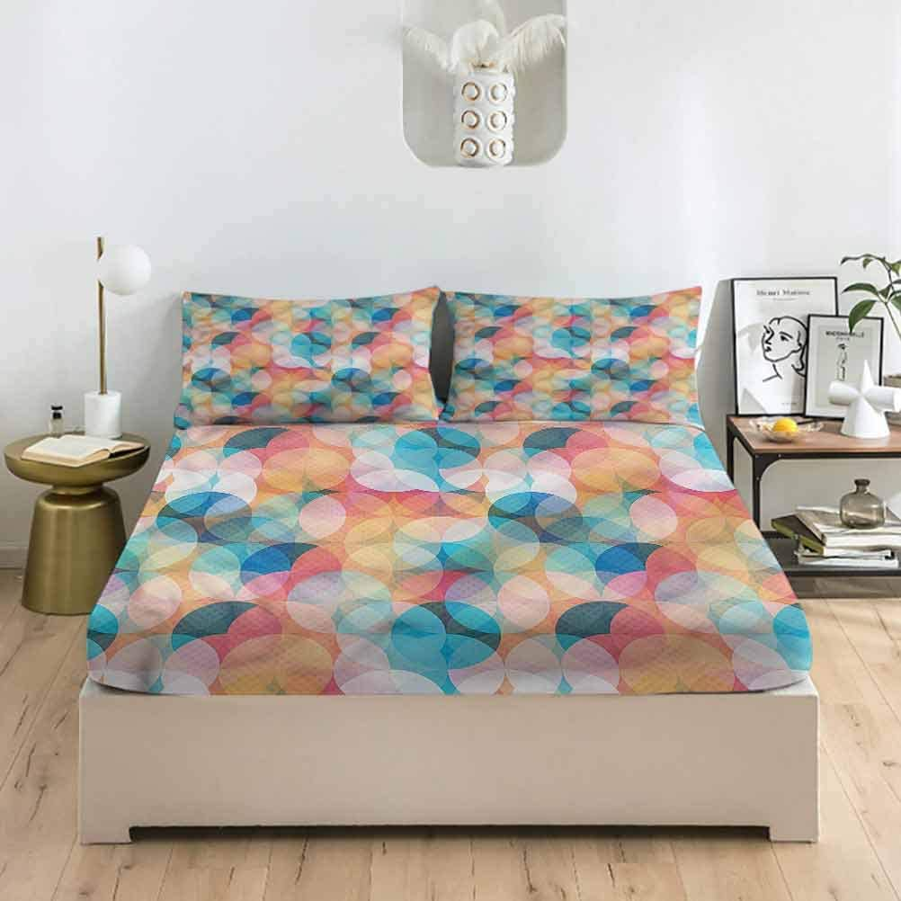 Geometric Full Size Bed Fitted New Sale item popularity Sheet Set Artsy Dee Leaves Pastel