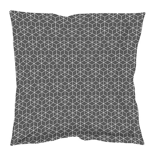 Homea Collection Taie Oreiller Volant Plat Coton Anthracite/Blanc,100% Coton, 63 x 63 cm